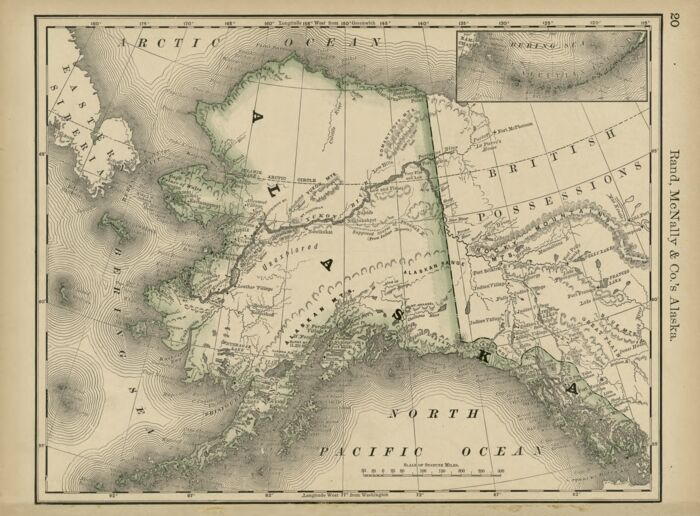 Alaska & Yukon 1878 Vintage Map Of Artwork Atlas Print Man Cave Poster GOLD SEE!