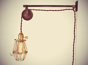 Vintage Industrial Pulley Sconce Wall Mount Cage Lamp