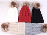 Pompom hats in newborn to 1 years only Grey and beige left