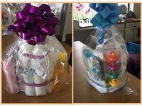 2 tier Nappy Cake Boy or Girl Newborn Baby Shower gift present