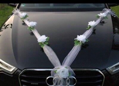 Best Wedding car decoration kit set Roses And Organza +free Door Bows Fast Uk