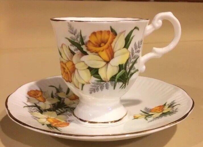 Rosina Yellow Daffodil Pedestal Tea Cup and Saucer