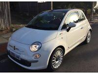 Fiat 500 1.2 Lounge Auto White. Panoramic roof, sat nav