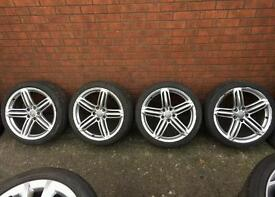 "GENUINE AUDI A5 S5 SEGMENT 5 TRI SPOKE 19"" ALLOY WHEEL RIM (8T0601025T) including good tyres and cap"