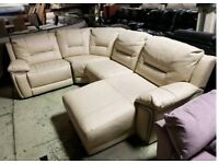 Cream leather corner sofa recliner with chaise