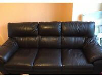 Dark brown leather 3-seater sofa