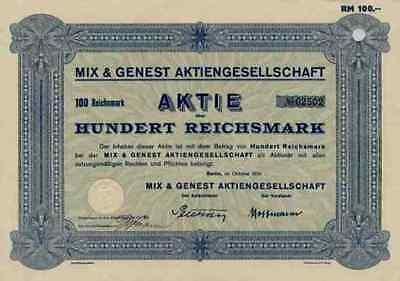 Mix & Genest AG 1934 Alcatel SEL Berlin Schöneberg Stuttgart 100 RM Telefonaktie