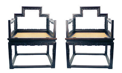 Pair Fine Chinese Xiaoye Zitan Hardwood Carved Low Back Arm Chair w No Mix Wood