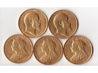 5x Gold Full Sovereign Coins - Edward VII and Victoria