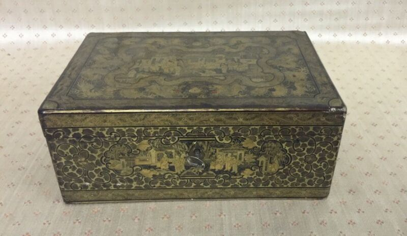 Antique Chinese Export Gilt Decorated Box Tea or Cigar Box Export Japanned Style