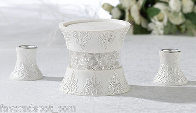 Lillian Rose Three Piece White Candle Holder Set Unity Ca...