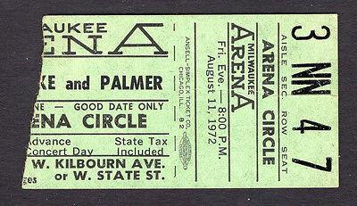 Original 1972 Emerson Lake & Palmer concert ticket stub Milwaukee WI Trilogy