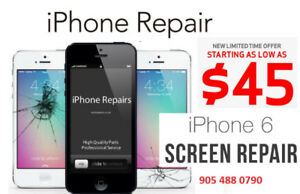 iPhone repair iPhone 5=$45, 6=$45,SE=$55, 6S=$55, 7=$70, 7+ =$80