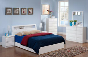 MODERN GLOSSY WHITE STORAGE BED WITH LIGHTING JUST $499