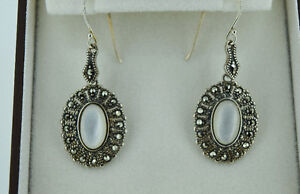 Stunning Marcasite and Mother of Pearl Earrings