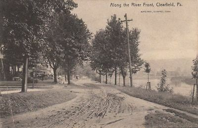 Postcard Along The River Front Clearfield Pa