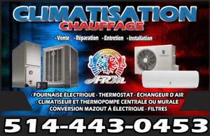 Réparation chauffage et thermopompes