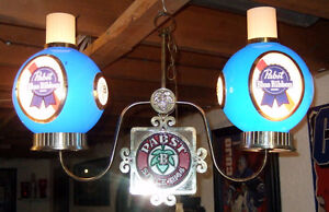 VINTAGE 1960's PABST BLUE RIBBON HANGING DOUBLE LIGHT Windsor Region Ontario image 1