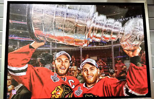 Kane/ Toews Autographed 2015 Stanley Cup Champs Canvas 20x29