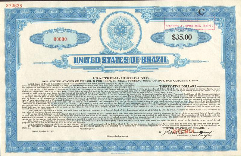United States of Brazil > Estados Unidos do Brazil specimen stock certificate C