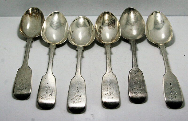 6 Canadian Sterling Silver Teaspoons – George Savage – 1860