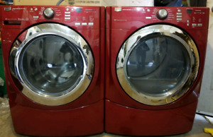 Red Maytag 5000 series steam washer and dryer