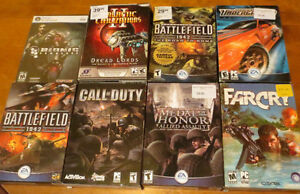 Lot of 8 PC Games Call of Duty Farcry Battlefield NFS Ect.