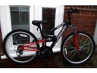 "**JUNIOR 24"" WHEEL FULL SUSPENSION BIKE - 18 SPEED - CLEANED & SERVICED - AS NEW - MINT!!**"