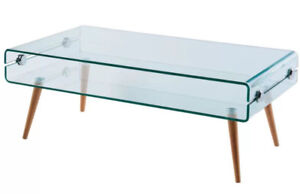 Cassetto Stylish Bent Glass Industrial Modern Coffee Table