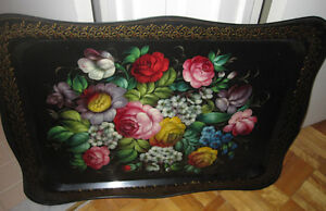 Pilgrim Tole painted signed and stamped serving tray