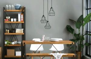 Luminaire suspension noir (cage industriel métal noir)