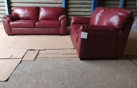 New/Transport Damaged Genuine Leather 3+2 Seater Sofas - Burgandy.