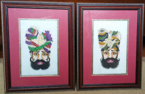 BRAND NEW - Rajasthani Art Paintings w/Gold-plated trim + Kundan