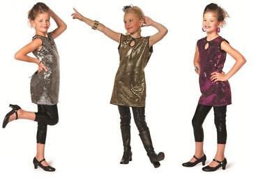 Disco 60er Jahre Kinder Glitter Glamour Party Pailletten Kostüm Kleid Charleston