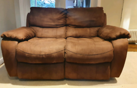 DELIVERY INCLUDED LIKE NEW 2 seater suede manual recliner sofa