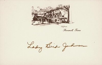 LADY BIRD JOHNSON - PRINTED CARD SIGNED IN INK