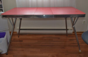 Vintage red chrome kitchen table from the mid-1950's