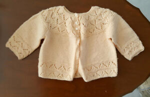 Hand Knit Cardigan Sweater - Baby Girl or Large Doll