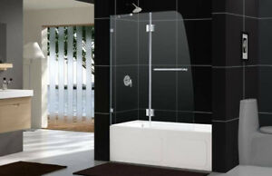 Replace shower curtain with tub glass doors.