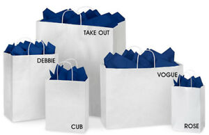 ULINE White Paper Shopping Bags