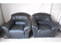 Pair of Matching Black Leather Armchairs - FREE DELIVERY