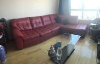 Sofa rouge en cuir - red corner leather sofa couche futon