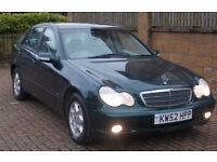 **1 YR MOT** LOW MILES Mercedes-Benz C200 Kompressor 1.8 auto 03 ClassicSE FMBSH