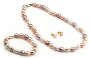 Never Worn (BNIB) 8 - 10 mm Natural Freshwater Pearl 3-pc Set
