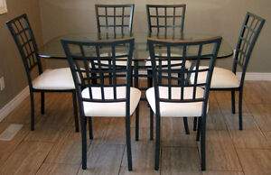 7 PC. GLASS TOP DINING SET