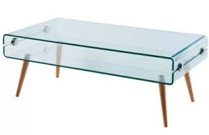 Brand New Modern Industrial Style Bent Glass Coffee Table