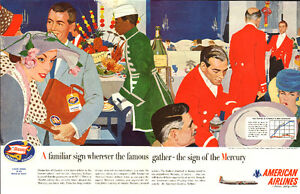 Large 1957 2-page ad for American Airlines Mercury