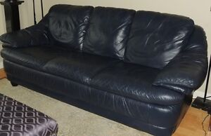Blue leather 3 Seat Couch