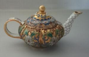 Vintage Miniature Cloisonne Teapot Enamel & Brass