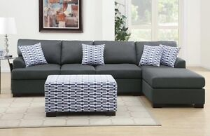 Linen Look Chaise Sofa & Free Ottoman FREE PERTH METRO DELIVERY Bayswater Bayswater Area Preview